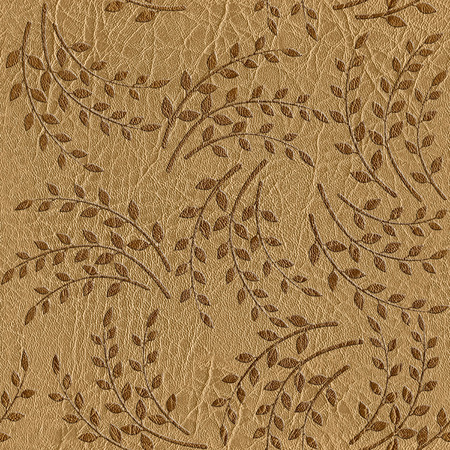 texture leather: Pattern of the decorative leaves and twigs - leather texture - seamless background