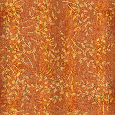 elm: Pattern of the decorative leaves and twigs - Carpathian Elm wood texture - seamless background