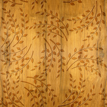 Pattern of the decorative leaves and twigs - Cherry wood texture - seamless background