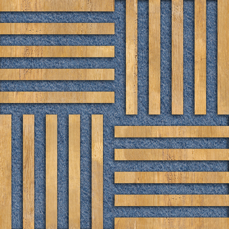 jeans background: Abstract paneling pattern - seamless background - wood texture and blue jeans background