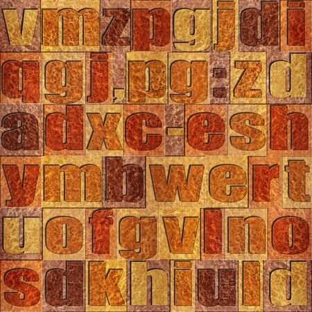 prinitng block: Different letters on background. Carpathian Elm wooden pattern. Seamless background.