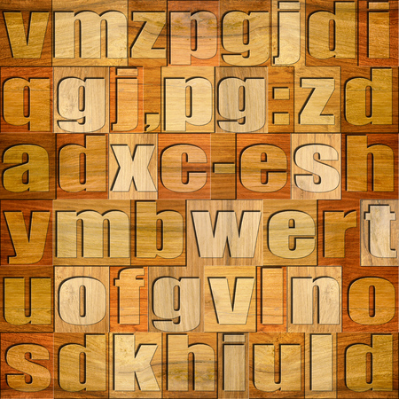 prinitng block: Different letters on background. Cherry wooden pattern. Seamless background.