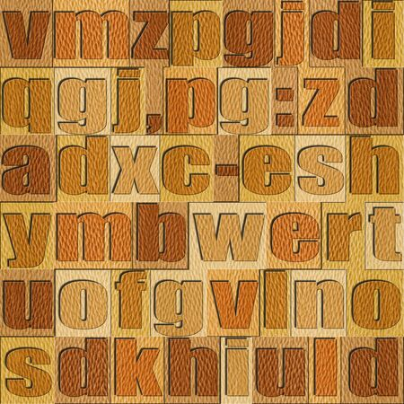 prinitng block: Different letters on background. White Oak wooden pattern. Seamless background.