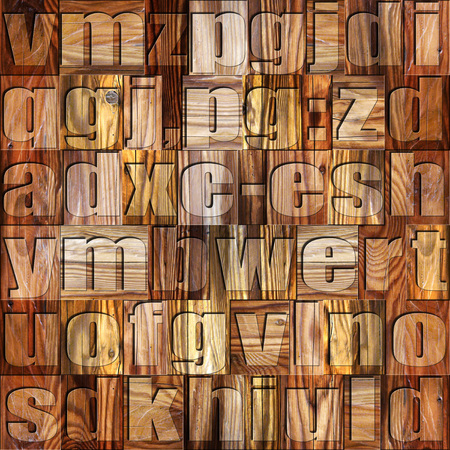 prinitng block: Different letters on background. Wooden pattern. Seamless background.