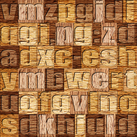 prinitng block: Different letters on background. Walnut wooden pattern. Seamless background.