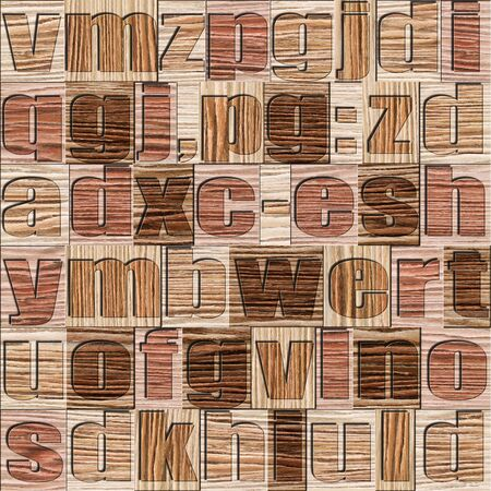 prinitng block: Different letters on background. Blasted Oak Groove wooden pattern. Seamless background. Stock Photo