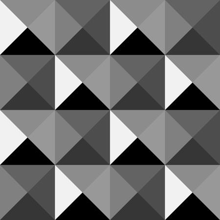 pyramidal: Black & White pyramidal pattern. Triangles stylish background. Interior wall panel pattern. Vector seamless pattern.