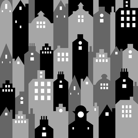urban area: Modern urban area. Decorative buildings and the city skyline. Modern stylish texture. Vector seamless pattern. Black & White version. Illustration