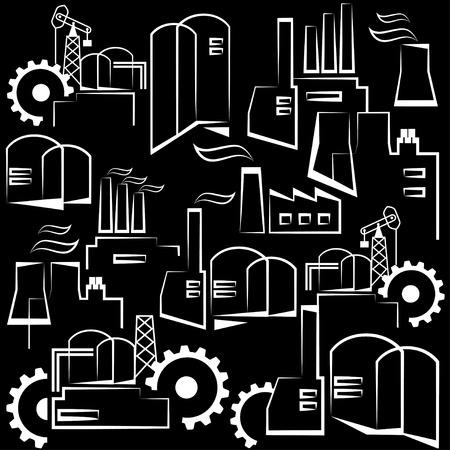 edificio industrial: edificio industrial universal. La industria pesada y la fabricación. La repetición del modelo decorativo. Vector sin patrón. Negro y blanco versión. Vectores
