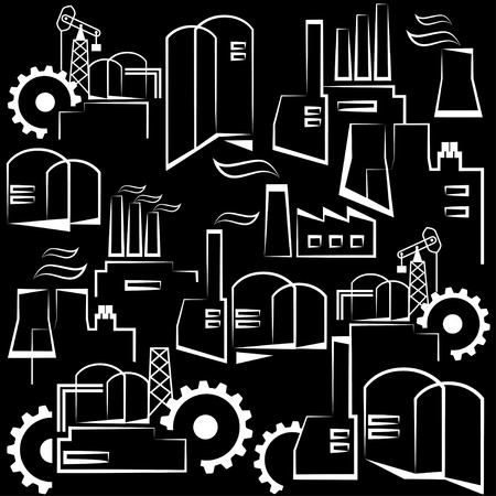ironworks: Universal industrial building. Heavy industry and manufacturing. Repeating decorative pattern. Vector seamless pattern. Black & White version.