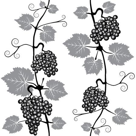 winemaking: Decorative grape leaves. Grape wine background. Vector Black & White seamless patterns. Interior Design wallpaper. Illustration