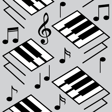 wall decoration: Abstract music backgrounds. Piano keys and musical notes. Interior wall decoration. Vector Black & White seamless patterns. Wallpaper texture background.