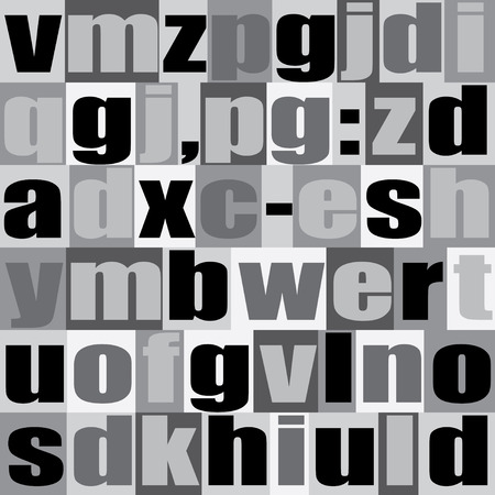 prinitng block: Different letters on background. Decorative Alphabet background. Modern stylish texture. Black and white version. Vector seamless patterns.