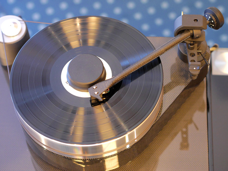 Audiophile HiFi turntable player with musical vinyl record. Stock Photo