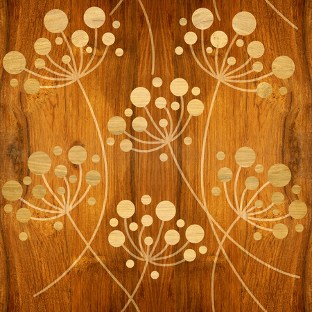Flower Dandelions - Interior wallpaper - seamless background - wooden structure