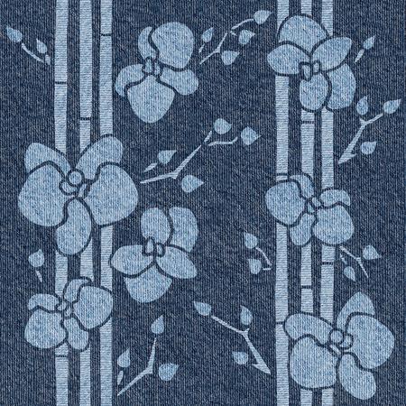 Flores tropicales decorativas - fondo transparente - textura de jeans