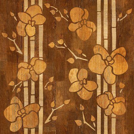 Orquídea decorativa - fondo de pantalla interior - fondo transparente - estructura de madera Foto de archivo