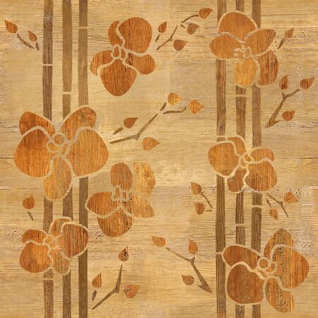 Orquídea decorativa - fondo de pantalla interior - fondo transparente - textura de madera Foto de archivo