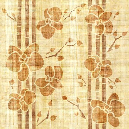 Flor de la orquídea - fondo de pantalla interior - fondo transparente - textura de papiro Foto de archivo