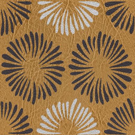 Flores abstractas - fondo de pantalla interior - fondo transparente - textura de cuero Foto de archivo