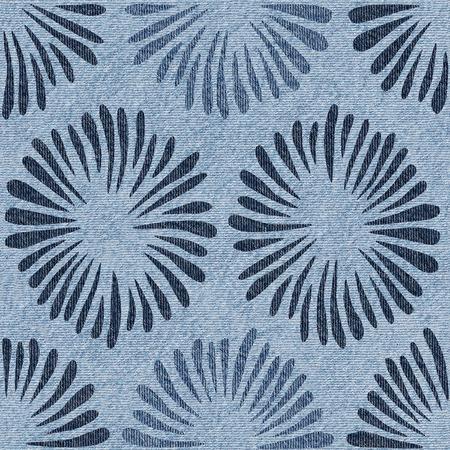 Flores decorativas - Fondo de pantalla interior - Fondo transparente - Textura de jeans