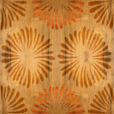 grained: Decorative flowers - Interior wallpaper - seamless background - wooden texture