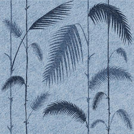 Hojas decorativas tropicales - fondo de pantalla interior - fondo transparente - textura de los pantalones vaqueros Foto de archivo