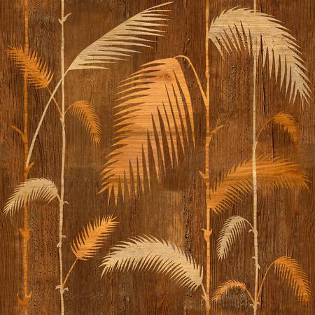 Hojas botánicas tropicales decorativas - fondo de pantalla interior - fondo transparente - textura de madera Foto de archivo