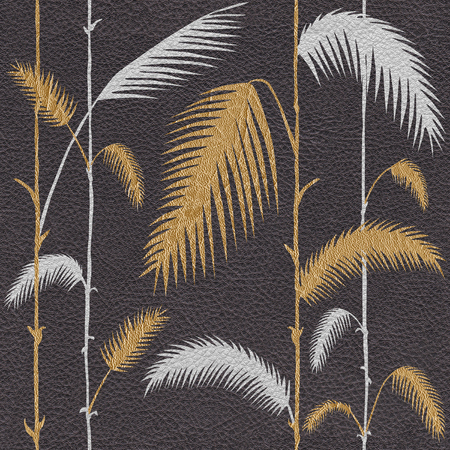Decorative tropical botanical leaves - Interior wallpaper - seamless background - leather texture