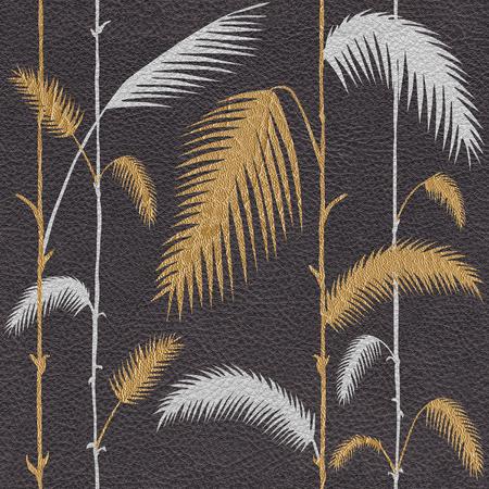 Hojas botánicas tropicales decorativas - fondo de pantalla interior - fondo transparente - textura de cuero