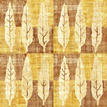 Hojas decorativas del árbol - fondo inconsútil - estilo a cuadros - textura del papiro