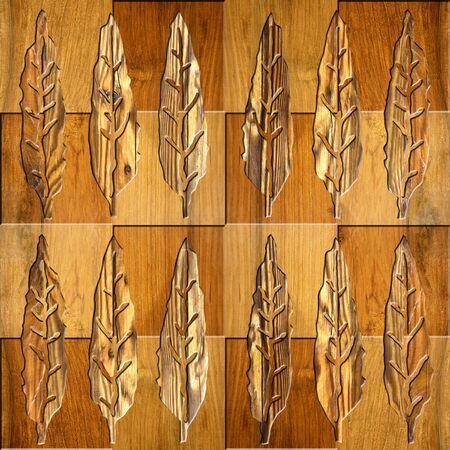 Hojas decorativas del árbol - fondo inconsútil - estilo a cuadros - textura de madera Foto de archivo