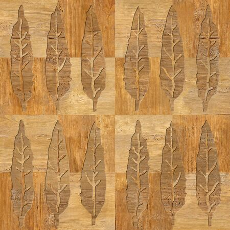Decorative tree leaves - seamless background - Interior wallpaper - wooden structure - checkered style