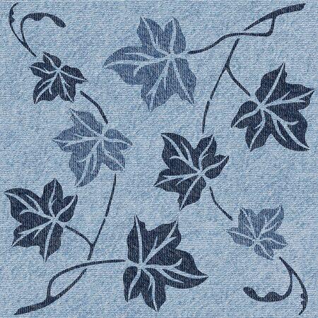 Hojas de otoño abstractas - fondo transparente - Fondo de pantalla interior - textura de jeans Foto de archivo