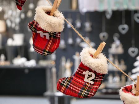 Countdown to Christmas Advent Calendar. Winterhandschoenen met cijfers.