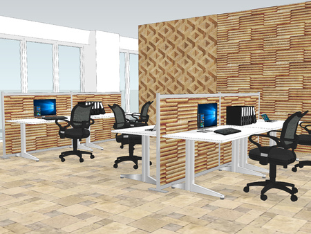 View of office space with a with wooden wall paneling in the background. 3d illustration Banque d'images