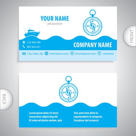 business card   Navigation compass   maritime symbols  company presentations Vector illustration. Ilustrace