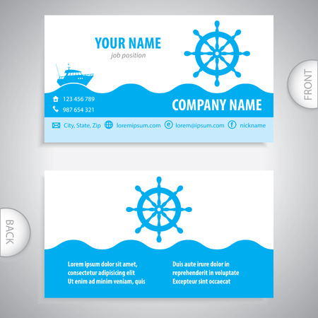 business card   steering wheel rudder   ship steering   company presentations Vector illustration.
