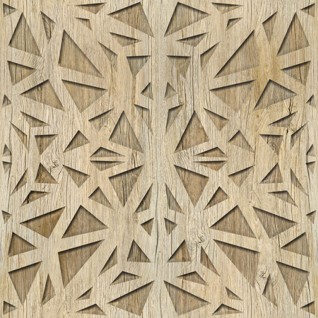 Decorative triangular pattern - Interior wall decoration, Mesh netting ornament - Repeating background, wooden structure Zdjęcie Seryjne