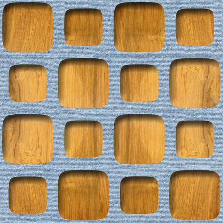 Decorative paneling pattern - Interior wall decoration, Patterned wrapping paper - Repeating background, Wood surface and blue jeans texture