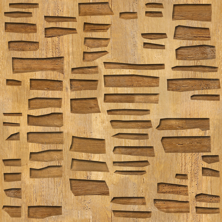 Wall decorative tiles - Abstract paneling pattern, Decorative facing masonry - Continuous replication, wood texture