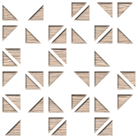 Wall decorative tiles - Abstract paneling pattern, Ornamental triangular style - Continuous replication, Blasted Oak Groove wood texture