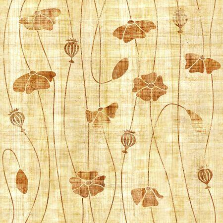 Fleurs de pavot rouge - fond d'écran intérieur - fond transparent - texture papyrus Banque d'images