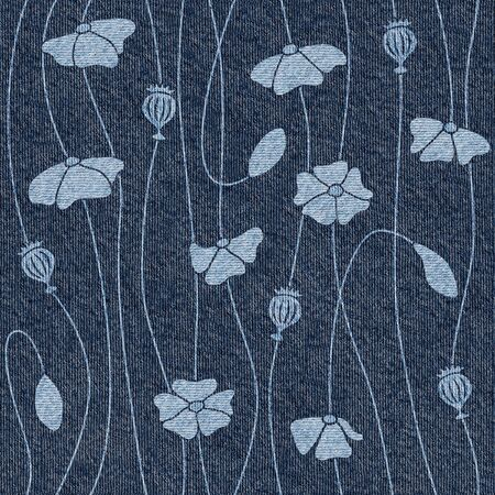 Set of poppy flower and leaves - Pattern of the decorative background - Interior wallpaper - seamless background - Blue jeans texture