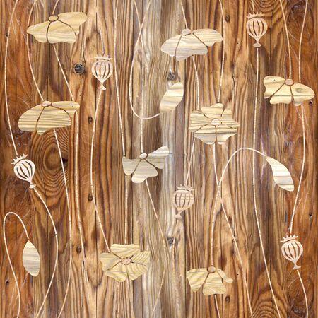 Amapola de maíz - papel tapiz interior - fondo transparente - textura de madera