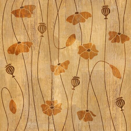 Red poppy flowers - decorative pattern - Interior wallpaper - seamless background - wood texture