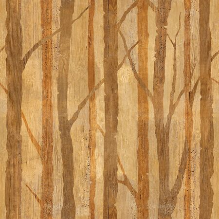 Forest with trees - decorative pattern - Interior wallpaper - seamless background - wooden texture
