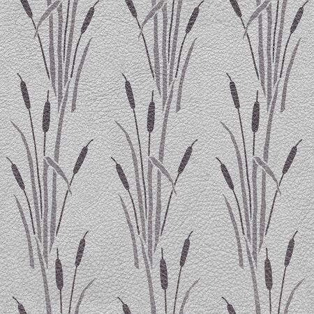 Set of wetland plants and reed - Reeds and wetland plants - Interior wallpaper - seamless background - leather texture - seamless background