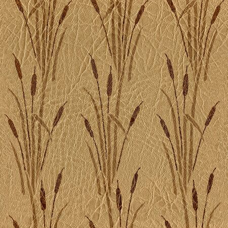 Reeds in wetland plants - Pattern of the decorative background - Interior wallpaper -  leather texture - seamless background