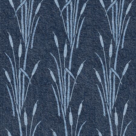Silhouette set of reed - decorative pattern - Interior wallpaper - seamless background - Blue jeans texture